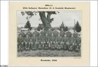 Officers 27 Bn (SA Scottish Regt) Woodside, back row far left Ivor Evans, 5th from left Keith Russack 1950