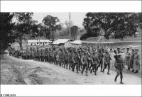 A platoon of SA militia lead a march at Woodside 1939