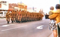 27 RSAR A Coy - Parade through Pt Adelaide -Capt Allen leading followed by Lt John Harrison 1969