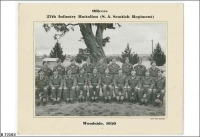Officers 27 Bn (SA Scottish Regt) Woodside, back row far left Ivor Evans, 5th from left Keith Russack 1950